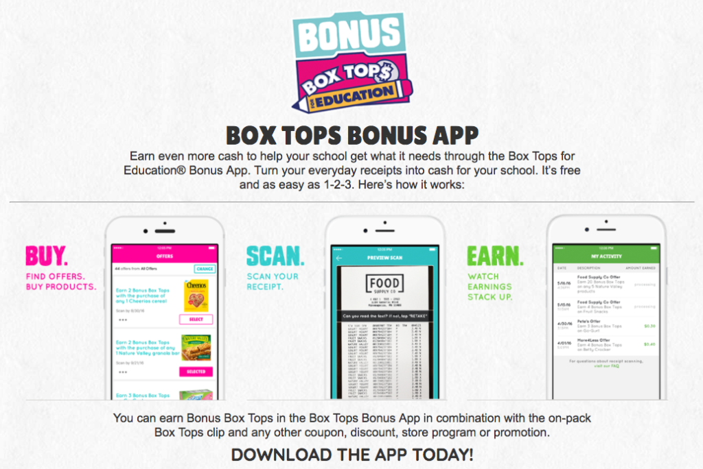 Box Tops for Education - School of Engineering & Arts PTA